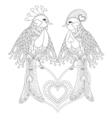 Lovely couple of exotic bird sitting on heart for vector image vector image