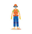 male construction worker standing with industrial vector image vector image