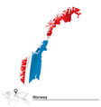 Map of Norway with flag vector image vector image