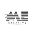 me m e zebra letter logo design with black and vector image
