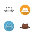Mens hat flat design linear and color icons set vector image