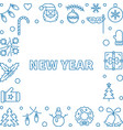 new year square outline frame or background vector image