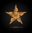 Origami Star from old paper on black background vector image vector image