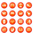 playground equipment icons set red vector image vector image