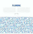 plumbing concept with thin line icons vector image