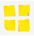 realistic detailed 3d yellow sticky note set vector image