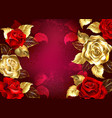 red background with jewelry roses vector image vector image