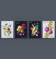 render shapes poster realistic 3d geometry shapes vector image