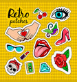 retro style colorful stickers vector image