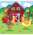 Rooster and chickens on the bacgroung of rural vector image vector image