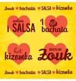 Salsa lettering with silhouettes of palms vector image