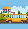 scene with children playing in park and school bus vector image vector image