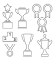 Set of award success and victory line icons vector image
