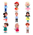 set of little kids wearing different fashion vector image vector image