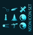 set space blue glowing neon icons vector image