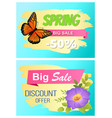 spring big sale set of posters butterfly and vector image