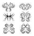 stylized swirl butterflies set vector image