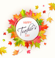Teachers day card with leaves