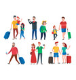 travel characters travelling group family couple vector image vector image
