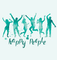 watercolor happy people silhouettes vector image vector image