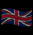 waving united kingdom flag pattern of persons vector image