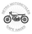 white caferacer vintage motorcycle vector image vector image