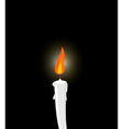 White candle on black background Grief mourning vector image