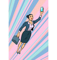 woman businesswoman superhero flying vector image