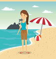 woman in the beach character vector image vector image