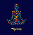 yoga day card woman in relaxation lotus pose vector image vector image