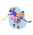 young male and female ice hockey players vector image vector image