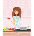 Beautiful lady cooking fish soup vector image