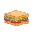 sandwich with cheese tomato ham and salad vector image