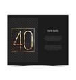 40th anniversary invitation card template vector image