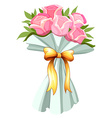 A bouquet of pink roses vector image vector image