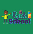 back to school sticker with inscription and boy vector image vector image