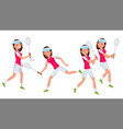 badminton female player playing in vector image