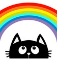 black cat looking up to big rainbow cute cartoon vector image