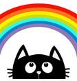 black cat looking up to big rainbow cute cartoon vector image vector image