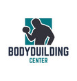 bodybuilding center with silhouette man and vector image