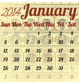 Calendar for January in the African style vector image vector image