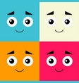 cartoon face on colorful backgrounds in flat vector image vector image