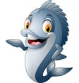cartoon fish waving vector image