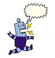 cartoon terrified robot with speech bubble vector image vector image