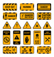 caution signs danger warning yellow and black vector image