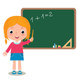 Child girl pupil at the school board vector image vector image
