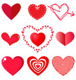 collection of hearts on white background vector image