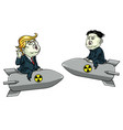 donald trump vs kim jong un on nuclear weapon vector image vector image