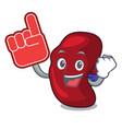 foam finger spleen mascot cartoon style vector image vector image