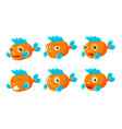 funny orange fish with different emotions set vector image vector image